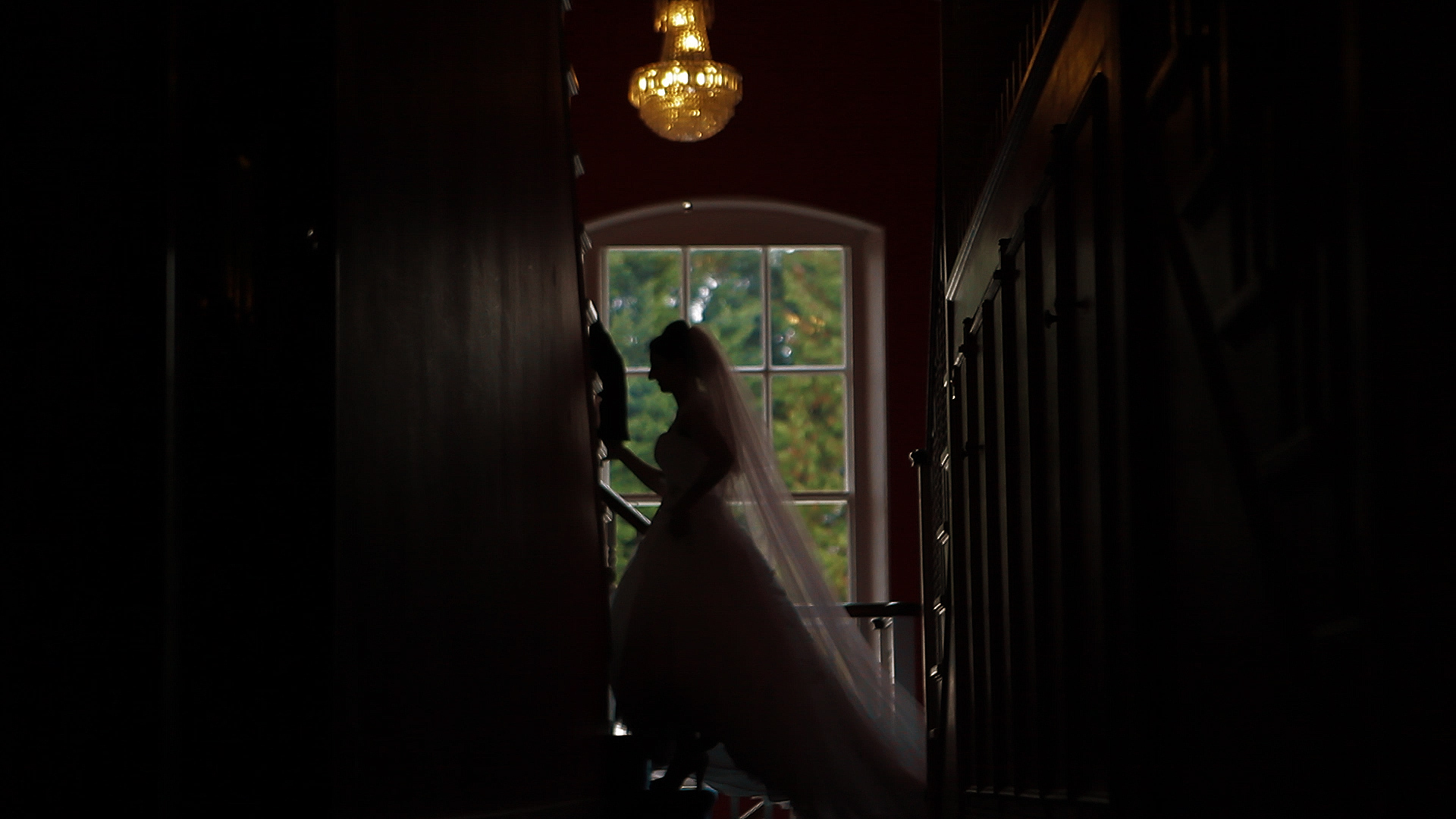 Quendon Hall, parklands, bride in the window 2
