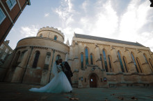 Temple church, bride and groom