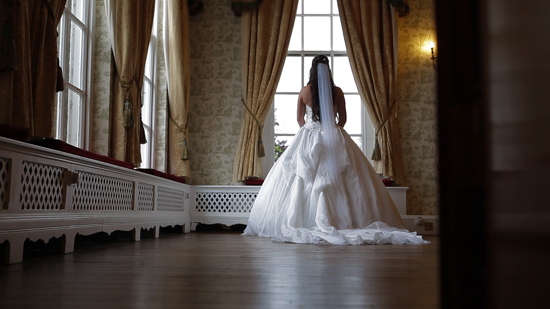 Quendon Hall, parklands, bride in the window