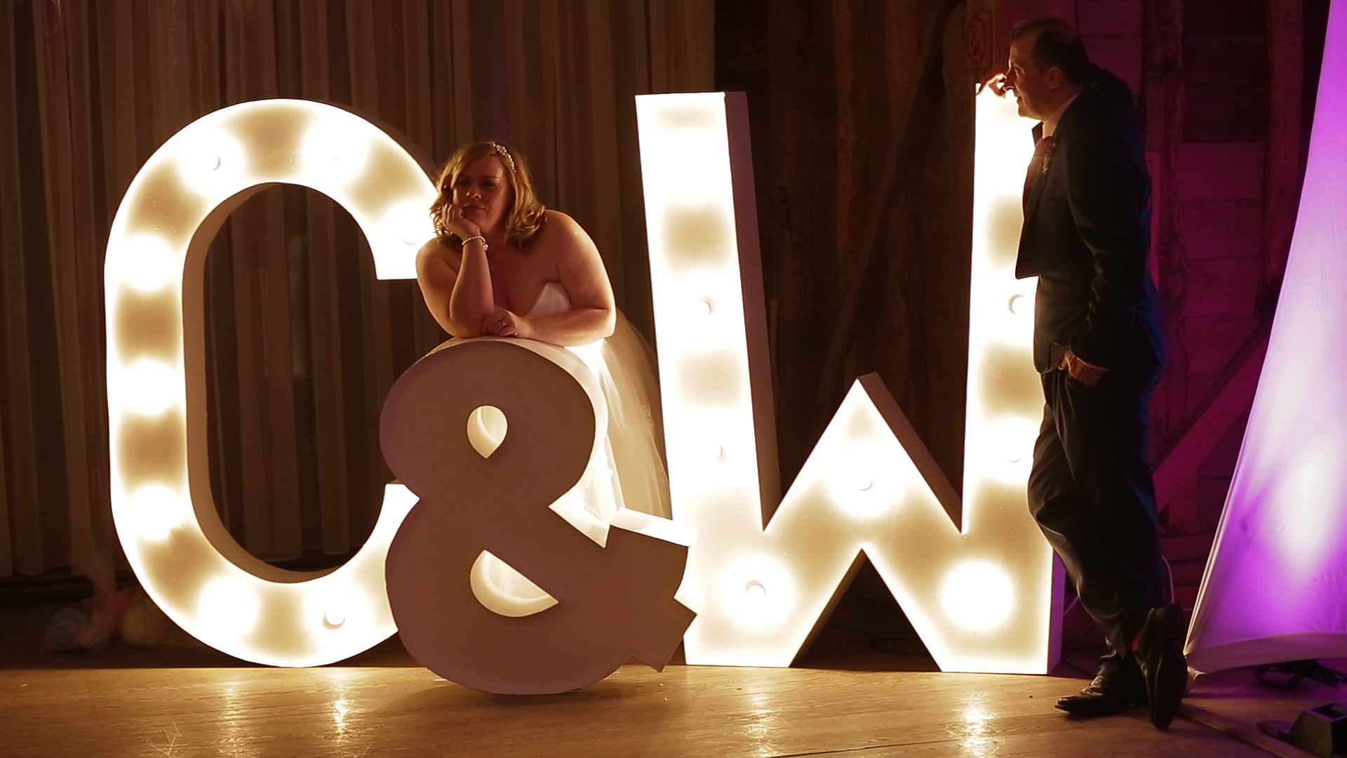 Huge wedding letters at Tewinbury farm