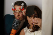 Photo booth of bride and groom